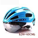 CDSS Männer/Frauen Erwachsene Fahrradhelm Racing Zeitfahrhelm Mit Brille Ultraleicht EPS + PC M L 54-62 cm Fahrrad Objektiv Helme, blue, M