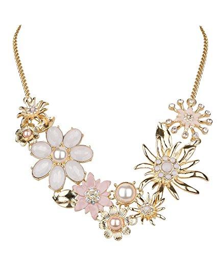 SIX Traumhafte Statementkette in rosè-goldfarben mit verschiedenen Blumen, Edelweißblüten, Perlen und Strass, eng anliegend, Oktoberfest (730-506)