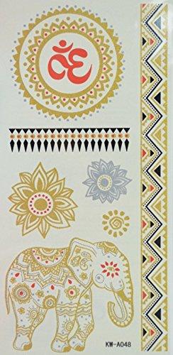 Spestyle wasserdichte Tätowierungen der indischen und orientalischen Studie Elefanten, Blumen und totem Silver und Golden Glitter Tattoo-Aufkleber