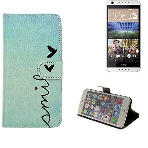 K-S-Trade® Für HTC Desire 620G Dual SIM Hülle Wallet Case Schutzhülle Flip Cover Tasche Bookstyle Etui Handyhülle ''Smile'' Türkis Standfunktion Kameraschutz (1Stk)