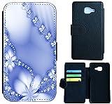 Huawei Nova Hülle Flip Cover Case Schutzhülle für das Nova von Huawei Design (1029 Abstract Blume Hell Blau)