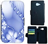 Sony Xperia XA Hülle Flip Cover Case Schutzhülle für Xperia XA von Sony Design Wico (1029 Abstract Blume Hell Blau)