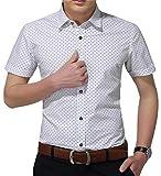AIYINO Herren Kurzarm Hemd mehrere Farben zur Auswahl (Large, Weiß)