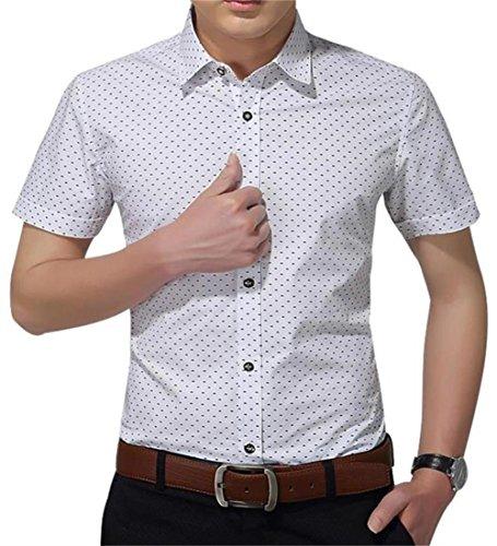 AIYINO Herren Kurzarm Hemd Slim Fit Baumwolle Casual Shirts 4 Farben zur Auswahl S-XL (Medium, Weiß)