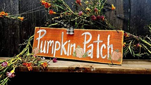 Monsety Kürbis-Patch signrustikales Halloween-Deko-Schild im Dunkelfall, Herbstschild, 45,7 cm lang, Holzschilder für Zuhause, Deko, Zitat, Gartenschild, Schild