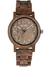 ZARTHOLZ Herren Damen Holz-Armbanduhr Holz-uhr Klassik 40mm aus Walnussholz Naturholz mit Holzarmband handgefertigt Naturprodukt Braun Silber ZH006