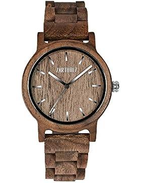[Gesponsert]ZARTHOLZ Herren Damen Holz-Armbanduhr Holz-uhr Klassik 40mm aus Walnussholz Naturholz mit Holzarmband handgefertigt...