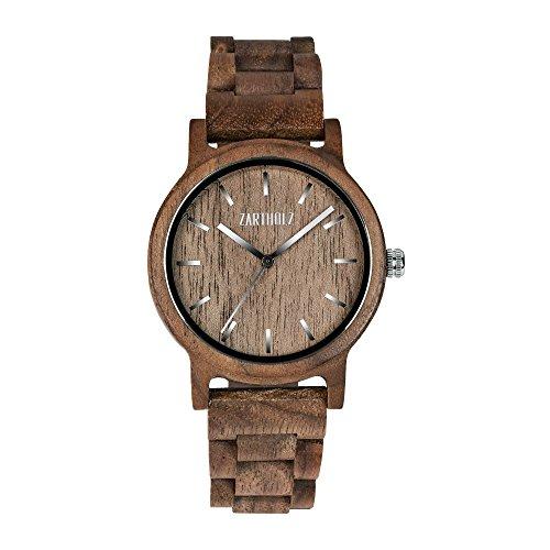 ZARTHOLZ Holzuhr Klassik aus Walnussholz für Herren und Damen / Holz-Armbanduhr / inklusive Geschenkverpackung aus Holz & Werkzeug / Braun Silber (40mm Gehäusedurchmesser)