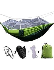 2 Person Dschungel Hängematte mit Moskitonetz, Portable Lanyard Outdoor Moskito Bar Schlafen Hängematte Schaukel Doppelbett Green Hanging Bed für Camping und Wandern
