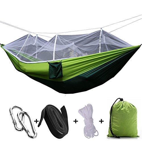 Zhang-Home 2 Person Dschungel Hängematte mit Moskitonetz, Portable Lanyard Outdoor Moskito Bar Schlafen Hängematte Schaukel Doppelbett Green Hanging Bed für Camping und Wandern