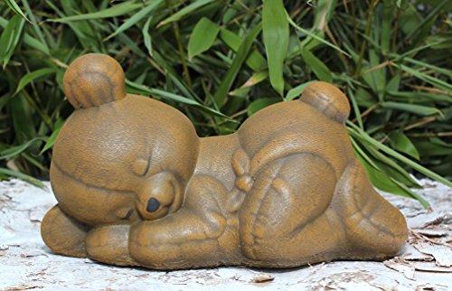 Steinfigur Teddybär schlafend Steinguss Hellbraun