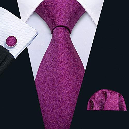 HYCZJH Rosen-rote Hochzeits-Krawatten-Satz-Seiden-Krawatten für die Männer, die Bräutigam Business Party Wedding sind (Rose Herzstück Rote)