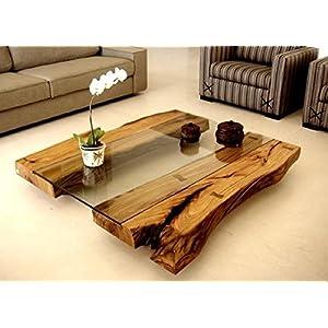 wood art ely Tavolo Vintage in Legno MASSELLO con Cristallo,Dimensioni 100X80X10 CM