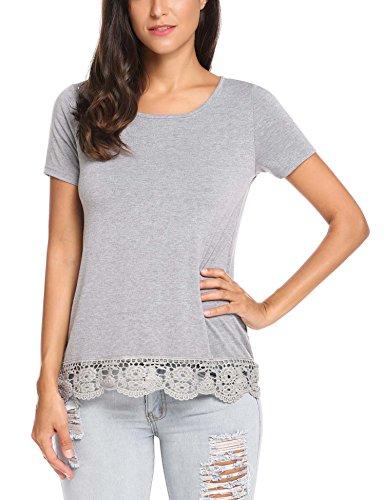 Parabler Damen Sommer T-Shirt Kurzarm Tops mit Floral Spitze Spitzenshirt Bluse Hemd Shirt Tunika (Kurzarm-bluse Floral)