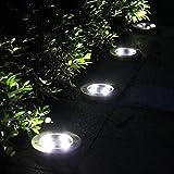 Tomshine 4pcs Solarbetriebene LED Bodeneinbauleuchte Außenleuchte Wasserdicht 4 LED 40LM Pfad Garten Landschaft Spike Beleuchtung für Hof Auffahrt Rasen, Weiß