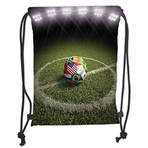 string Backpacks Bags,Sports Decor,A Soccer Ball on a Soccer Field Printed Flags of the Participating Countries, Soft Satin,5 Liter Capacity,Adjustable String Closure,The Styli ()