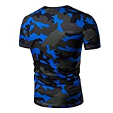 alamor Sommer Herren Fashion Lässiges T-Shirt Camouflage Mehrfarbig Größe V-Ausschnitt Kurze Ärmel T-Shirt - blau - L