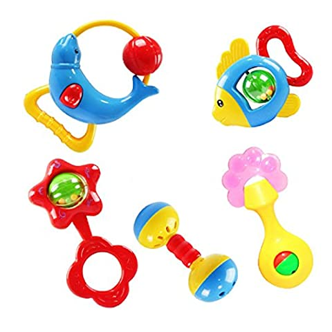 Kids Toys, Xinantime Colourful Plastic Baby Nursery Hand Bell Hand Shake Rattle with Music & Light