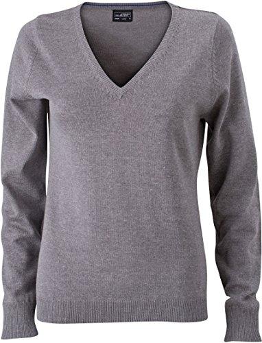 Ladies' V-Neck Pullover - taillierter Damen V-Neck Pullover L,Grey Heather (Womens V-neck Pullover)