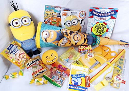 101631 gefüllte Schultüte Minion 35cm mit Plüschminion Zuckertüte als Geschenk verpackt mit Schulsachen Lineal Schere