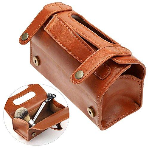 Bolsa cuero moda hombre portátil cosmético bolsa