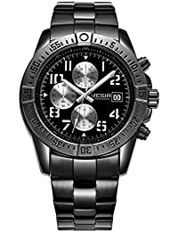 Reloj de pulsera Megir con cronógrafo, acero inoxidable, reloj a la moda de cuarzo, dial luminoso impermeable para hombre con fecha