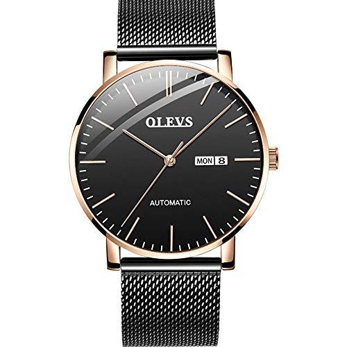 hanische Uhr, stilvolle ultradünne Mesh-Gürtel Stahl wasserdicht Doppelkalender Herrenuhr,A ()