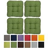 Beautissu Set de 4 cómodos y suaves cojines Lisa - 40x40x8 cm para sillas - forro brillante - sin cordones - Verde