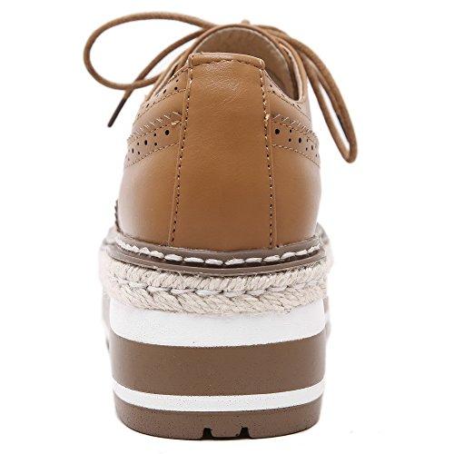 AllhqFashion Femme Rond Lacet Pu Cuir Couleur Unie Chaussures Légeres Jaune