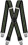 Hosenträger für Herren breit Extra Starken 4 cm mit 4er Clips X-Form Lange für Männer und Damen Hose (Schwarz Gelb Grün)