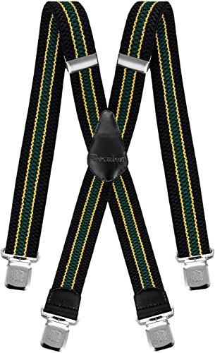 Decalen Hosenträger für Herren breit extra starken 4 cm mit 4er Clips X-Form Lange für Männer und Damen Hose (Schwarz Gelb Grün)