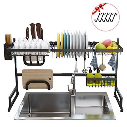 YYY Geschirrtrockner über Spüle Edelstahl Abtropffläche Regal für die Aufbewahrung von Küchenbedarf, über Spüle Schüssel Rack Dish Rack Display Shelf (Farbe : Schwarz)