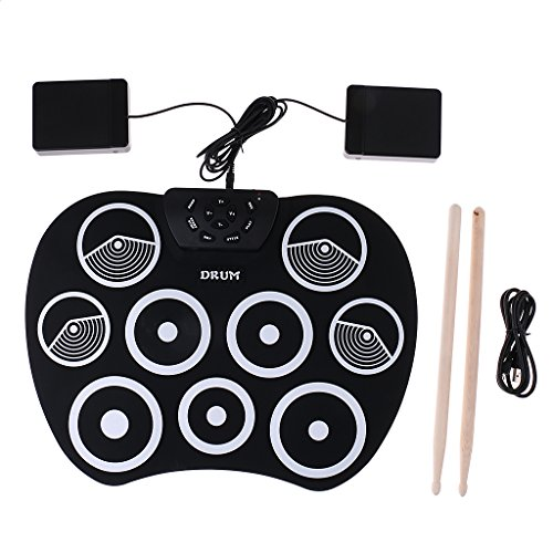 Sharplace Tambores Portátil Plegable Roll Up Drum Pad Kit Stick Practice Instrument