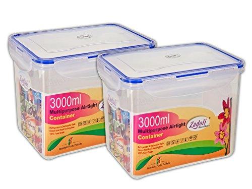Zadoli Plastic Milan Air Tight Locked Food Container, 3000ml(Transparent)- Set of 2