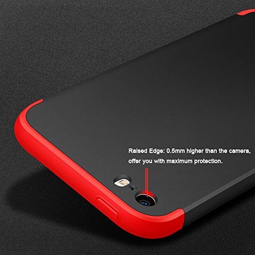 Custodia per iPhone 7, Alta Serie di Scudi CLTPY iPhone 7 Full Body Hard Plastic Cover [3 Parti] Design Staccabile Front & Indietro Caso per Apple iPhone 7 + 1 x Stilo Libero - Rosso A Oro