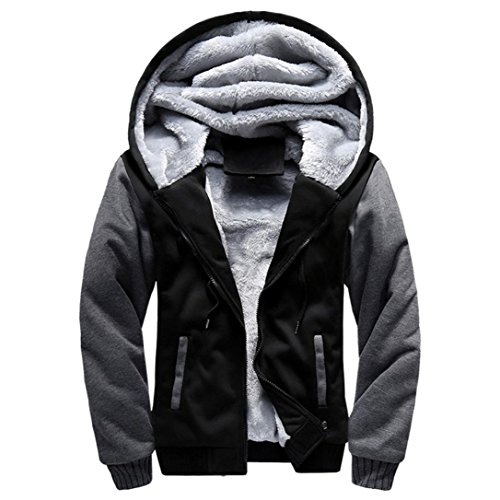 Mens Jacket Coat, DoraMe Fleece Zipper Coat Winter Hoodie Sweater Jacket Warm Outwear