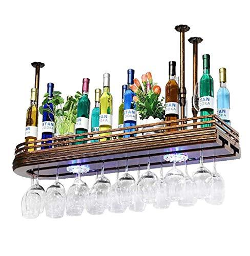 Rustikale Weinregale (KOSHSH Weinregal Decke Weinflaschenhalter - Hängender Weinglashalter - Vintage Weinflaschenhalter - Rustikales Weinregal Zur Wandmontage - Stielhalter - Verstellbare Höhe)