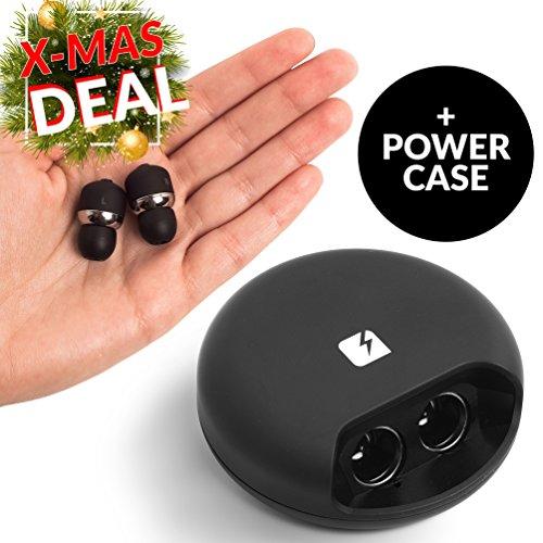 NOVA Echte Kabellose Kopfhörer mit Power Case   2 in 1 Wireless Bluetooth In-Ear Kopfhörer   Mini Ohrhörer Headset mit Mikrofon & Ladegerät