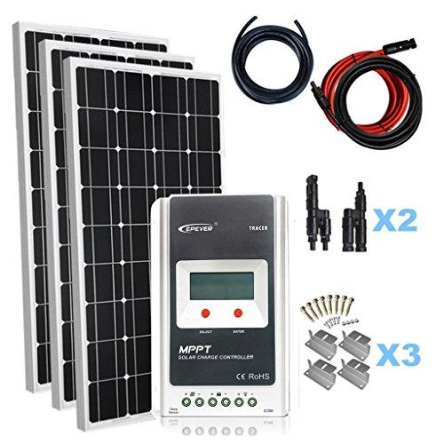 Giosolar Solaranlage 300 Watt (3X100W) Solaranlage Basic-Starter 12V - Solar Bausatz mit Modul,...