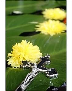 Imprimé photographique Crucifix et fleurs de Katmandou, Népal, Asie