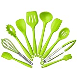 Set of 10 Pieces Silicone Kitchen Cooking Utensils With Hygienic Solid Coating, Heat Resistant Baking Spoonula, Brush, Whisk, Spatula, Ladle, Spoon, Tongs and Slotted Turner Green