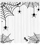 ABAKUHAUS Ragnatela Tenda da Doccia, Ragni Pipistrelli Ragnatela, Stilosa Idrorepellente Set, 175 x 240 cm, Nero Bianco