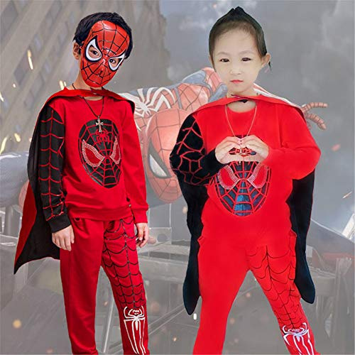 Full Spiderman Kostüm - ZGCP Halloween Kostüme Kinder Spider-Man Kleidung Altman Batman Kostüm Full Red 130 Meter