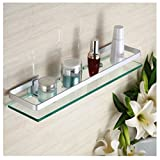 HBlife Aluminium Badezimmer Kosmetik Regal rechteckig Glas dicke Glasablage Dusche Regale Wandmontierte Küche Lagerung Regal Rechteck