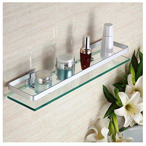Hblife contenitore cosmetici per il bagno con mensole in vetro e alluminio (1)