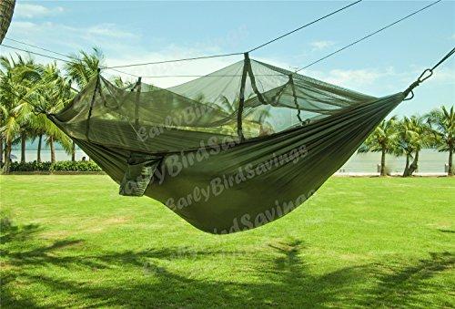 Earlybird Savings portatile ad alta resistenza paracadute tessuto/Nylon Amaca Hanging letto per esterni e campeggio, Army Green