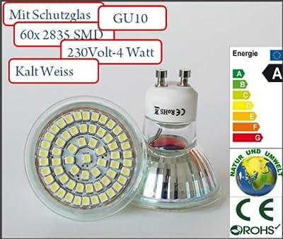 10x GU10 LED SPOT Lampe LED Strahler SMD 3528 mit Schutzglas. Energiespar Lampe Kaltweiss 4 Watt