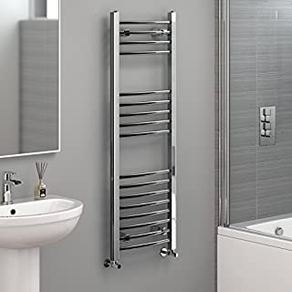 iBathUK | 1200 x 400 Curved Heated Towel Rail Chrome Bathroom Radiator