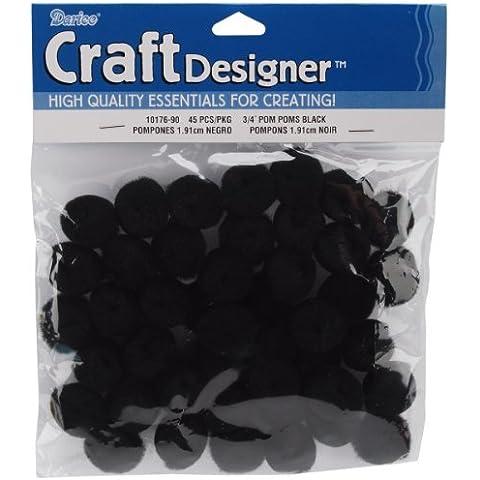Acrylic Pom Poms - Black - .75 inch - 45 pieces by Darice