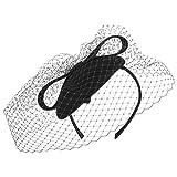 McBURN Fascinator Haarschmuck Wollfilz-Saucer Schleier für Damen Haarschmuck Kopfschmuck Winter Sommer (One Size - schwarz)